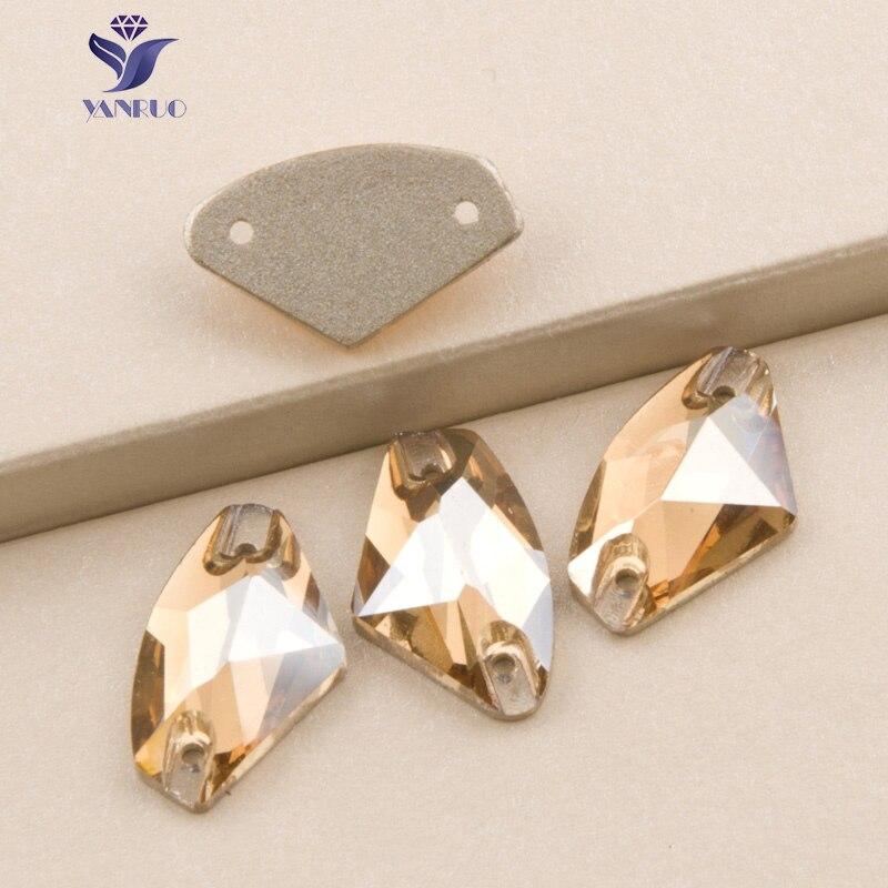 YANRUO 3256 Galatic Kristall Golden Shadow Nähen Auf Rhinestones Steine Und Kristalle Glas Strass Für Kleid Gold Perlen