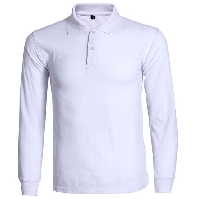 Новые Рубашки Поло Мужчин Поло Homme 2016 Мужская Мода С Длинным Рукавом поло Рубашки Повседневные Марка Сплошной Цвет Дышащая Поло Плюс Размер 3Xl