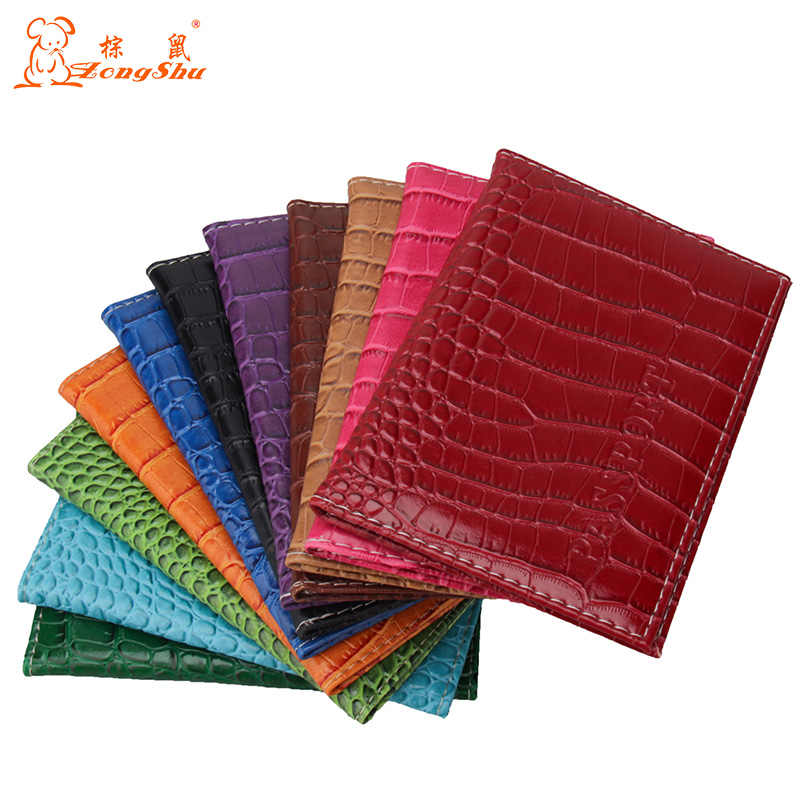 Pu Leather English letter Passport Cover Embossing Fashion Designer Credit Card ID Bag crocodile grain passport case