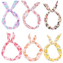 Korean Pastoral Women Cute Rabbit Ears Headband Boho Colored Flowers Knotted Wash Face Hairband Twist Iron Wired Hair Holder