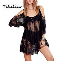 New 2016 Womens Beach Sunscreen Casual Clothing Beautiful Lace Strapless Lace Hollow Sexy Dress Beach Wear