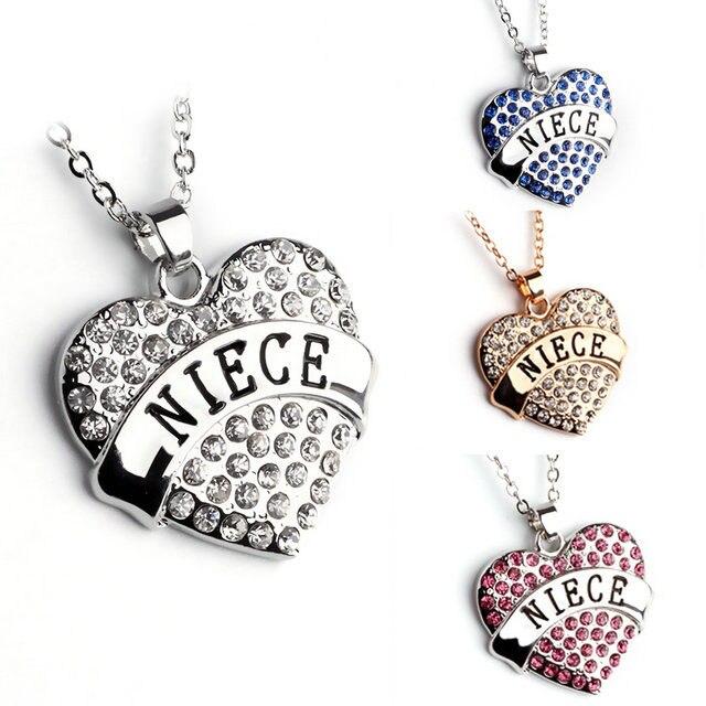 2018 New Items Birthday Gift Full Rhinestone Heart Love Niece Necklaces Family Fashion Women Jewelry 10pcs Lot