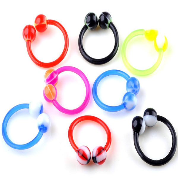 Wholesale 30Pcs/lot Acrylic 4MM Ball Nose Rings U Shape Nose Rings And Studs Ear Rings Piercing Body Jewelry For Women Men