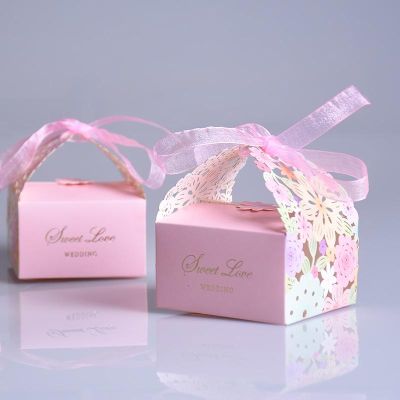 100 шт./компл. любовь сладкий цветок свадьбу Hollow перевозки Baby Shower сувениры подарки Коробки конфет Лазерная резка Шоколад Бумага коробка