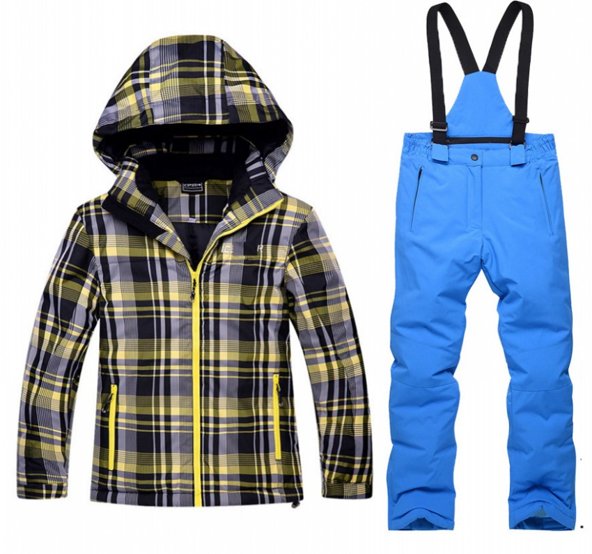 2018 Children girl boy ski Snow suits hooded plaid jacket+overall child sports tracksuit boy girl winter jacket pants clothes