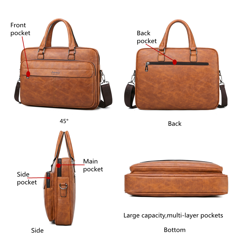 Image 4 - JEEP BULUO Famous Brand Men Briefcase Bag High Quality Business  office Work Leather Shoulder Bags Travel Handbag 14 inch  LaptopBriefcases