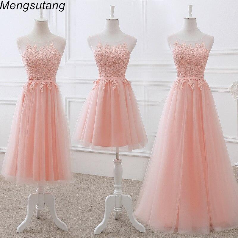 Robe-De-Soiree Party-Dress Lace-Up Bride Wedding-Banquet Formal Pink Elegant O-Neck Appliques