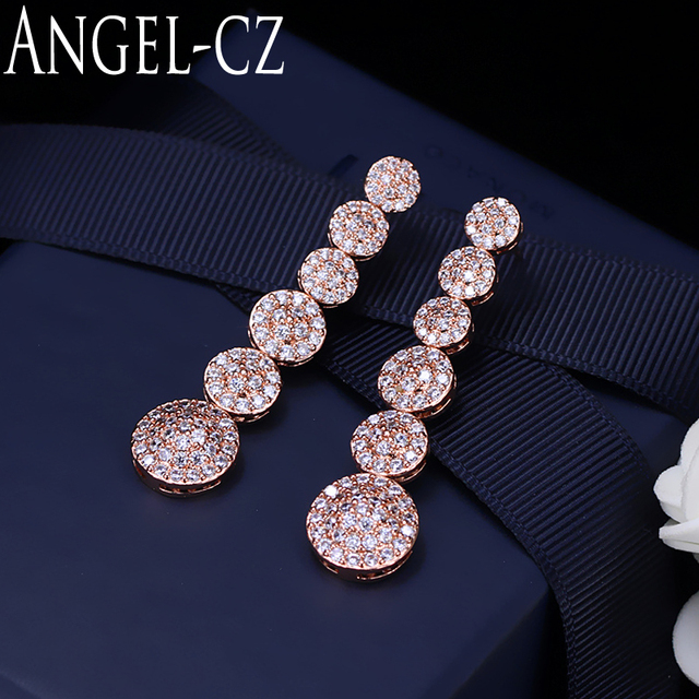 ANGELCZ Fashion Rose Gold Color Ladies Jewelry Glittering Tiny Cubic