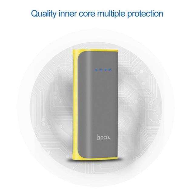 HOCO B21 Power Bank 5200mAh Mini USB Tiny Concave Pattern 18650 Portable Mobile Phone External Battery Charger Powerbank
