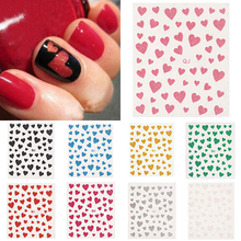 1Sheet 3D Nail Art Decal Stickers Decoration Glittery Hearts Nail Art Stickers Nail Stamping Plates DIY Manicura Tools M03806