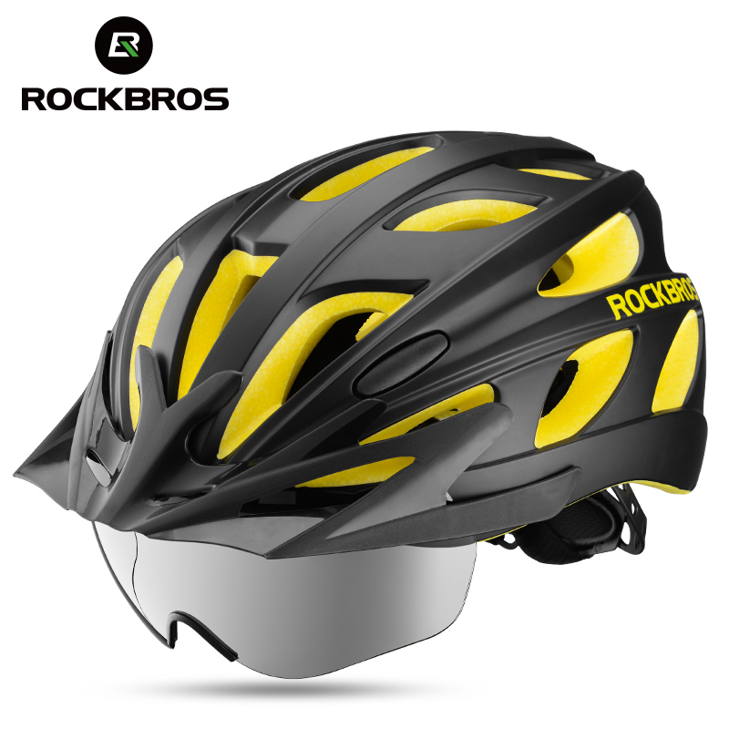 ROCKBROS Integrally-molded Bicycle Helmets Goggles Ultralight Magnetic MTB Mountain Bike Cycling Helmets With Sunglasses rockbros discoloration cycling glasses with light mtb mountain bicycle sunglasses oculos masculino gs0004