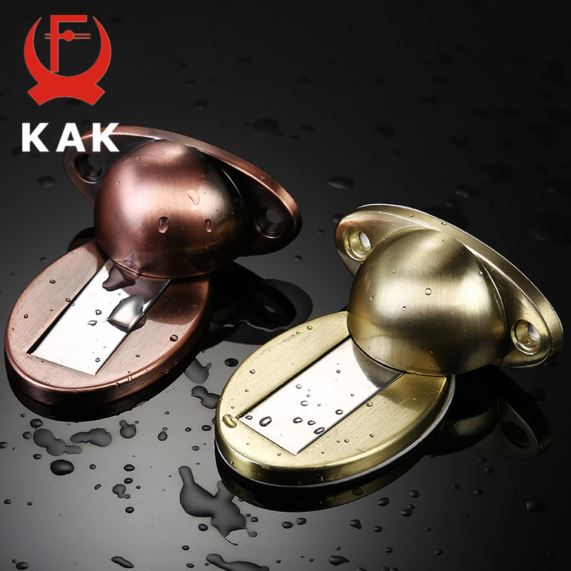 KAK Thicknessed Zinc Alloy Magnetic Door Stopper Sticker Hidden Door Holders Catch Floor Nail-free Doorstop Door Hardware