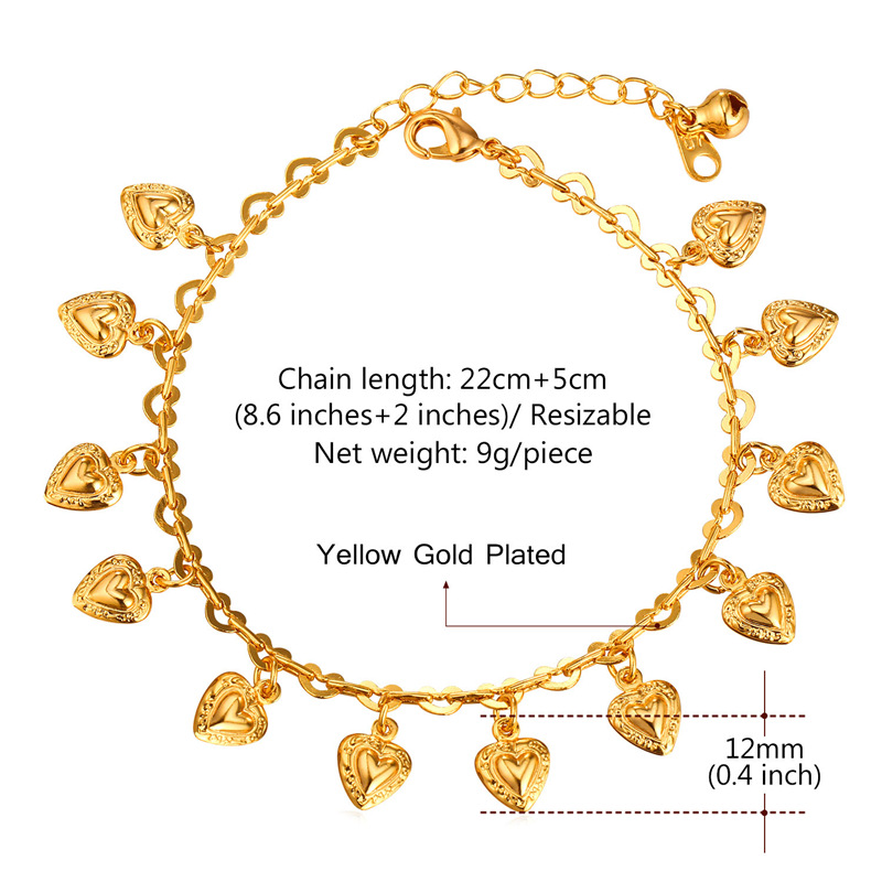 U7 Heart Charms Ankle Bracelet On Leg Gold Color Summer Jewelry Wholesale Anklet Bracelet Foot Jewelry For Women Gift A318 2