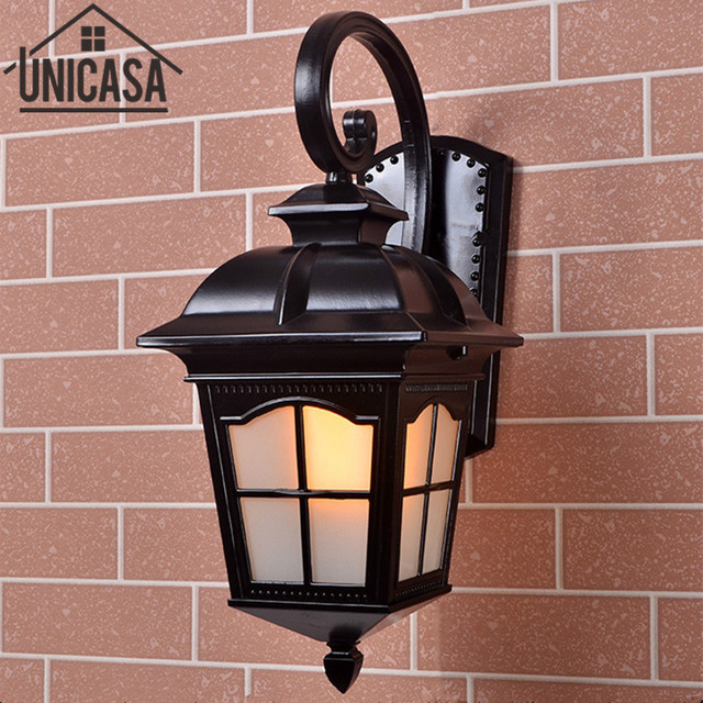 Antique Outdoor Wall Lights Garden Pathway Vintage Bar Sconce Black Aluminum Ceiling Lamps Led Lighting Lamp Ou