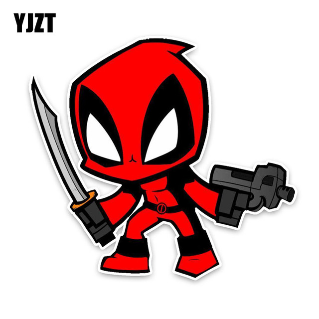 High Quality YJZT 13*11.9CM Cartoon Fun DEADPOOL High Quality PVC Car Sticker Fashion  Decals Car