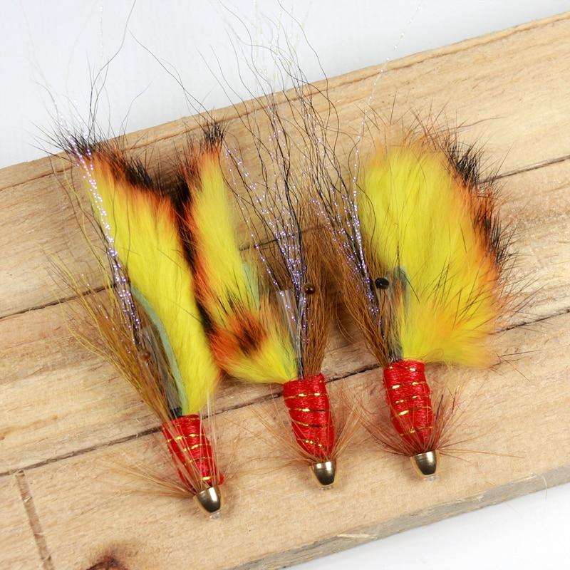 4PCS Conehead Fire Tiger Salmon Tube Fly & Treble Salmon flys