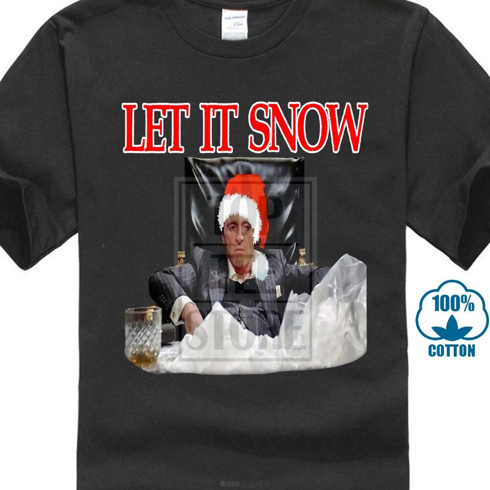 567c625b Scarface Tony Montana Let It Snow Xmas Oldskool Full Front Shirt *Many  Options*