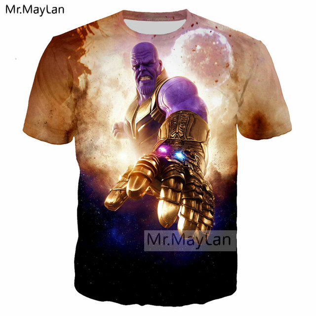 US $10 91 22% OFF|Movie Avengers 3 Infinity War Thanos 3D Print Infinity  Gauntlet T shirt Women/Men Cool T shirt Boy O neck Tshirt Hiphop Clothes-in