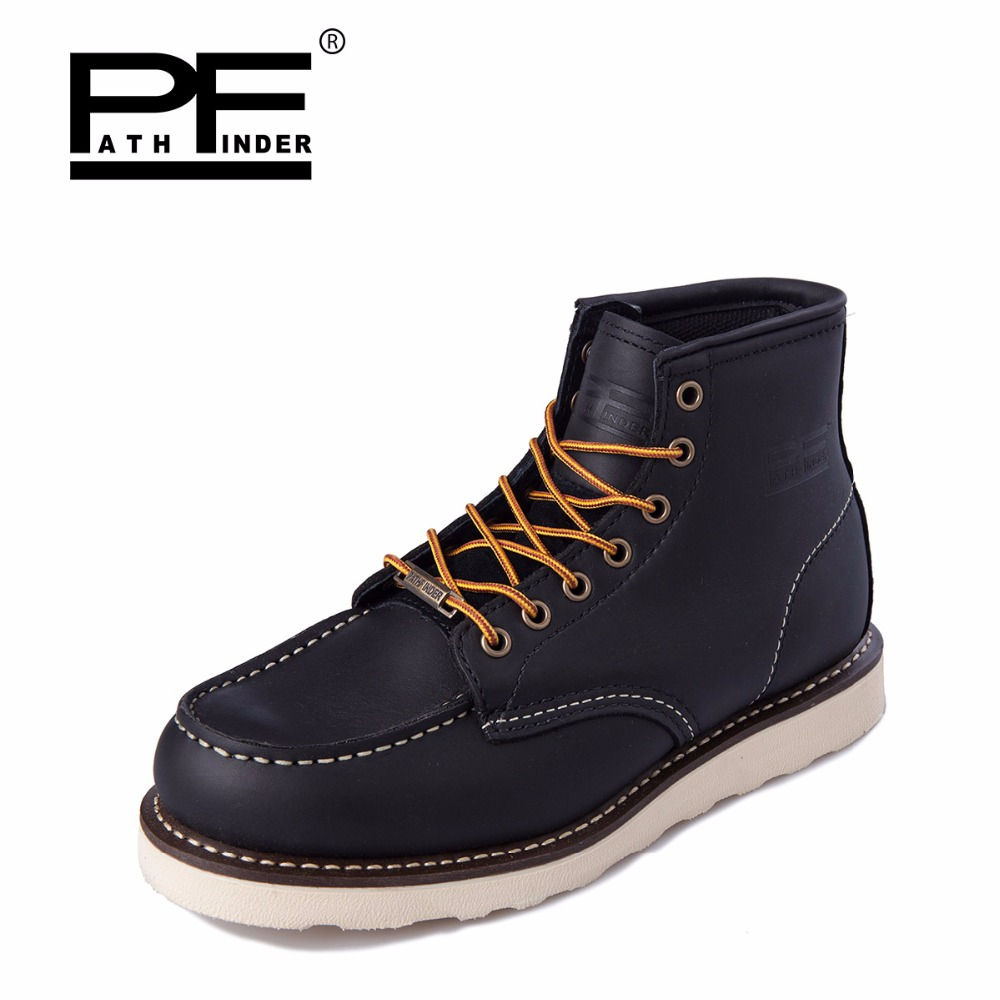 Pathfind 2017 men casual Leather ankle Boots Motorcycle Martin army Tooling military Work Safety Desert Shoes Western Botas mans free shipping autumn winter genuine leather men s work ankle boots martin boots british style western cowboy boots for men botas