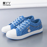 2019 Fashion Polka Dot Women Sneakers Denim Casual Shoes Female Summer Canvas Shoes Trainers Lace Up Ladies Basket Femme
