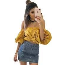 Puff Sleeve Cold Off Shoulder Elastic Women Blouse Shirt Loose Crop Girl's Blouse Blusas Female 2017 Summer Mujer Tunic LJ8631Z