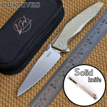 LWKNIVES APACHE AH46 M390 blade Solid Titanium handle KVT system folding knife camping outdoor Drills Saws