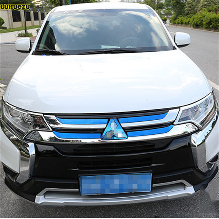 Stainless Steel Car Front Grille Bumper Frame Trim  Racing grille For For Mitsubishi Outlander Accessories 2015 2016 2017