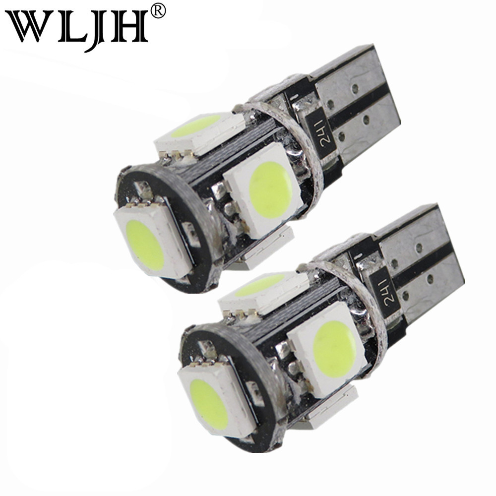 WLJH 10x White T10 5050SMD 5 LED Error Free Canbus W5W 194 168 2825 Car Lamp License Plate Light Bulbs Parking Light Wholesale 4pcs super bright t10 w5w 194 168 2825 6 smd 3030 white led canbus error free bulbs for car license plate lights white 12v