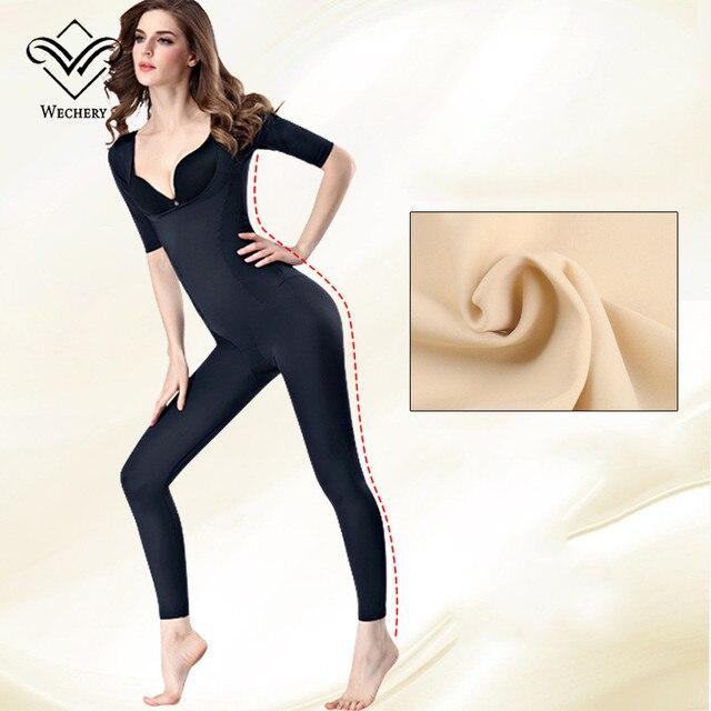 Wechery Nuovo Shaper Donne Fajas Più Il Formato di Lunghezza Completa di Lunghezza Shapewear Midi Manica Cintola Dimagrisce Biancheria Intima per Le Donne