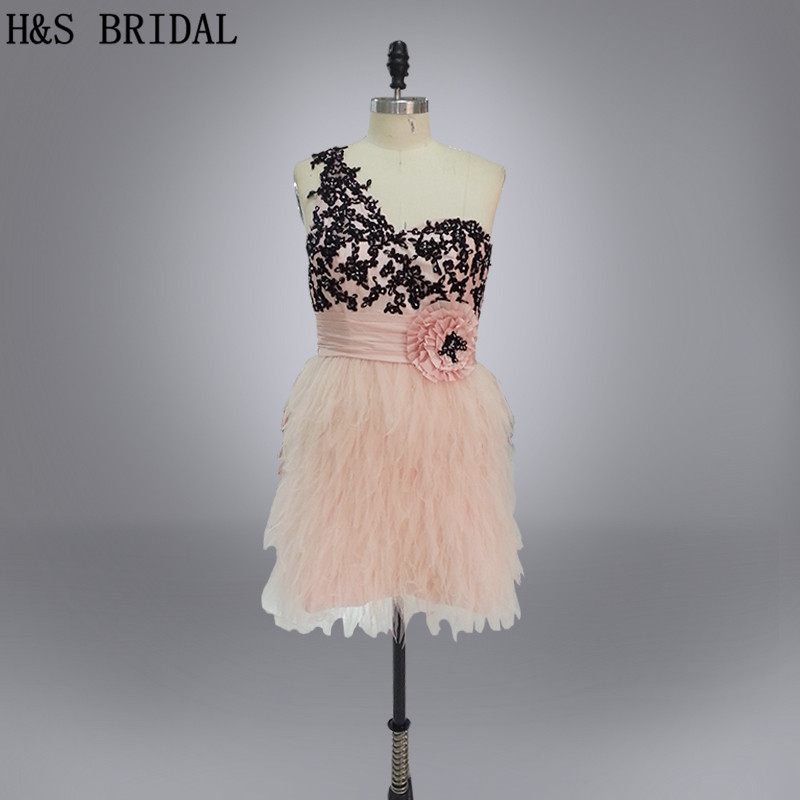 H&S BRIDAL Real Picture One shoulder Home Coming   Dresses   black lace appliques beaded   cocktail     dresses