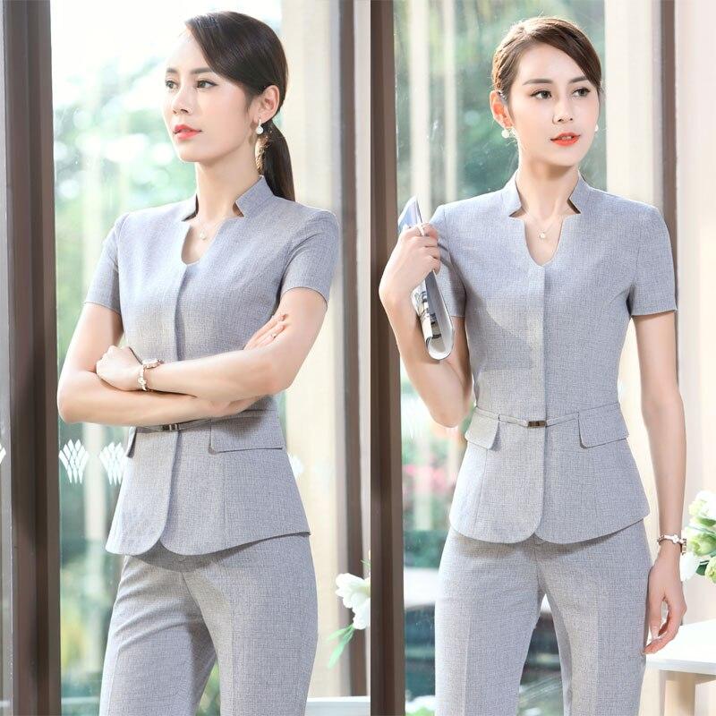Popular short sleeve pant suit buy cheap short sleeve pant for Office uniform design catalogue