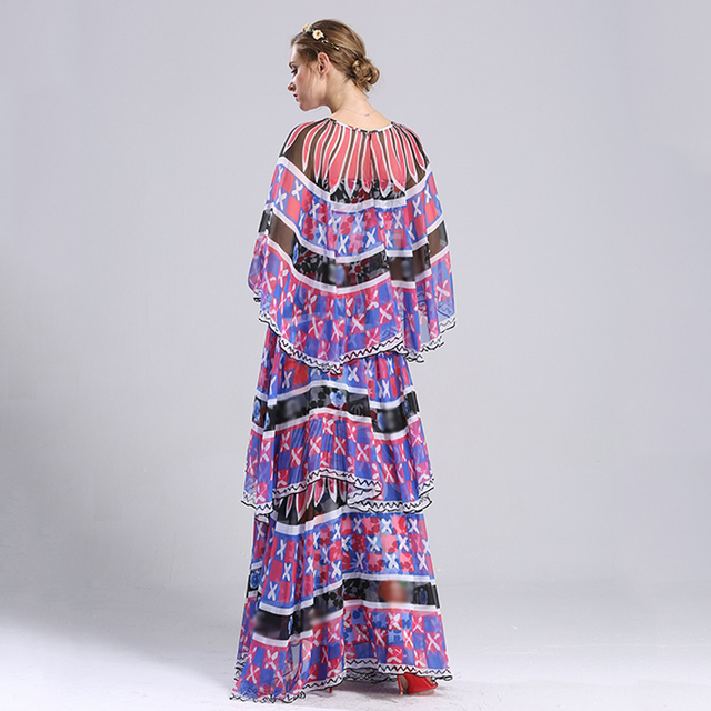 2017 New Arrival Runway Style Women's Designing Layers Bud Dresses Maxi Long Printed Cascading Ruffle Dress Big Size S-XXXL