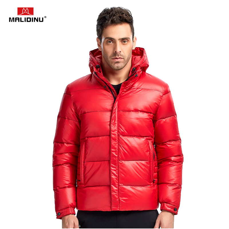 MALIDINU 2019 Brand Down Jacket Men Winter Coat Man Hooded Red Warm Big Mens Size Jackets