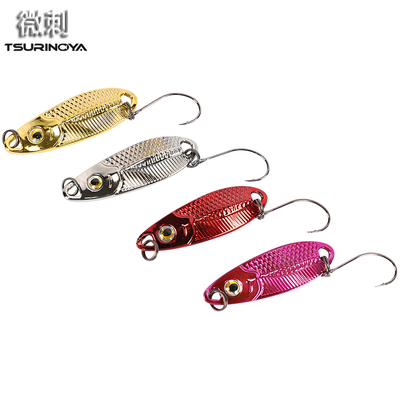 Wholesale 2Pcs 2017 Trulinoya 1.5g 2.5g 3.5g Golden Silver Spoon baits Metal Pesca Copper Lures Carp Fishing Lure Single Hook