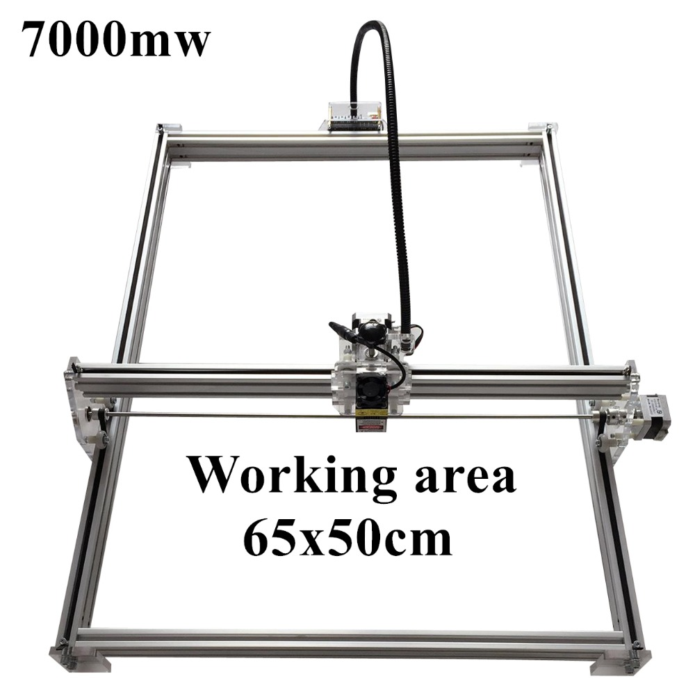 NEW 7000mw Blue Violet Laser Engraving Machine Mini DIY Laser Engraver IC Marking Printer Carving Size 65*50CM mark on metal blue laser head engraving module wood marking diode 2 5w glasses circuit board for engraver wood metal plastic carving mayitr