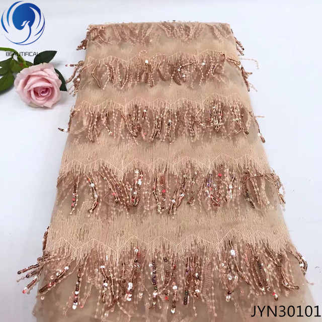 BEAUTIFICAL beaded lace fabric tassel lace fabric african lace fabrics 5 yards tulle sequin fabric 2019 unique patterns JYN301