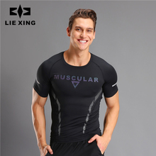 LIEXING sport t shirt men Quick Dry compression Jersey Fitness Running tshirt Short Sleeve Gym Sports Top Tee Clothing
