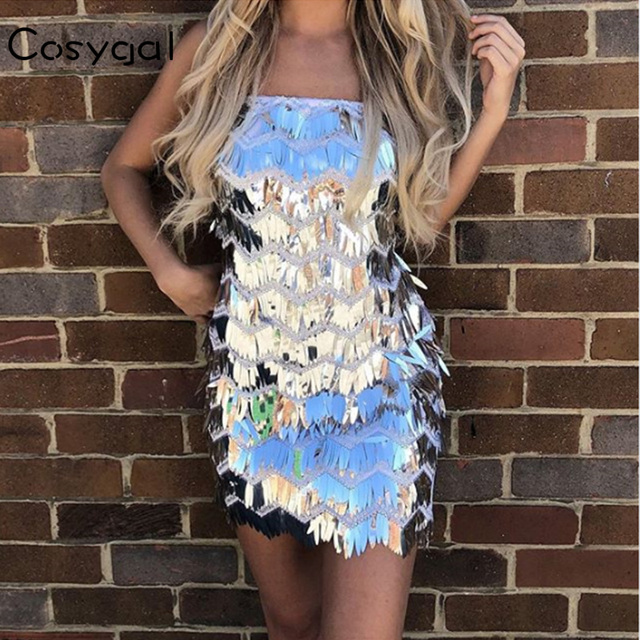 COSYGAL 2018 Summer Dresses Female White Off Shoulder Strapless Casual Club Mini Dress Sexy Sequin Bodycon Dress Vestidos