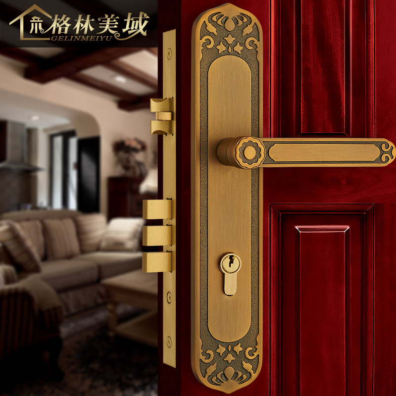 все цены на European style bronze door lock pure copper interior door bedroom solid wood door lock American double open door lock