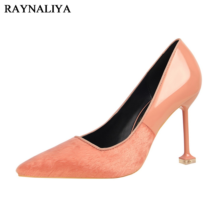 Spring Autumn Woman Pumps High Heel Fashion Pointed Toe Party Wedding Shoes Black Pink Thin Heels Shoes DS-A0125 spring autumn fashion pointed toe high heels solid causal women pumps shoes faux velvet female work pumps wedding shoes 302 1ve
