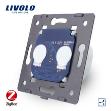 Livolo EU Standard,Base Of ZigBee Touch Switch, 2 Gang 2 Way app Control smart Switch Without Glass Panel,AC 220~250V ,VL C702SZ