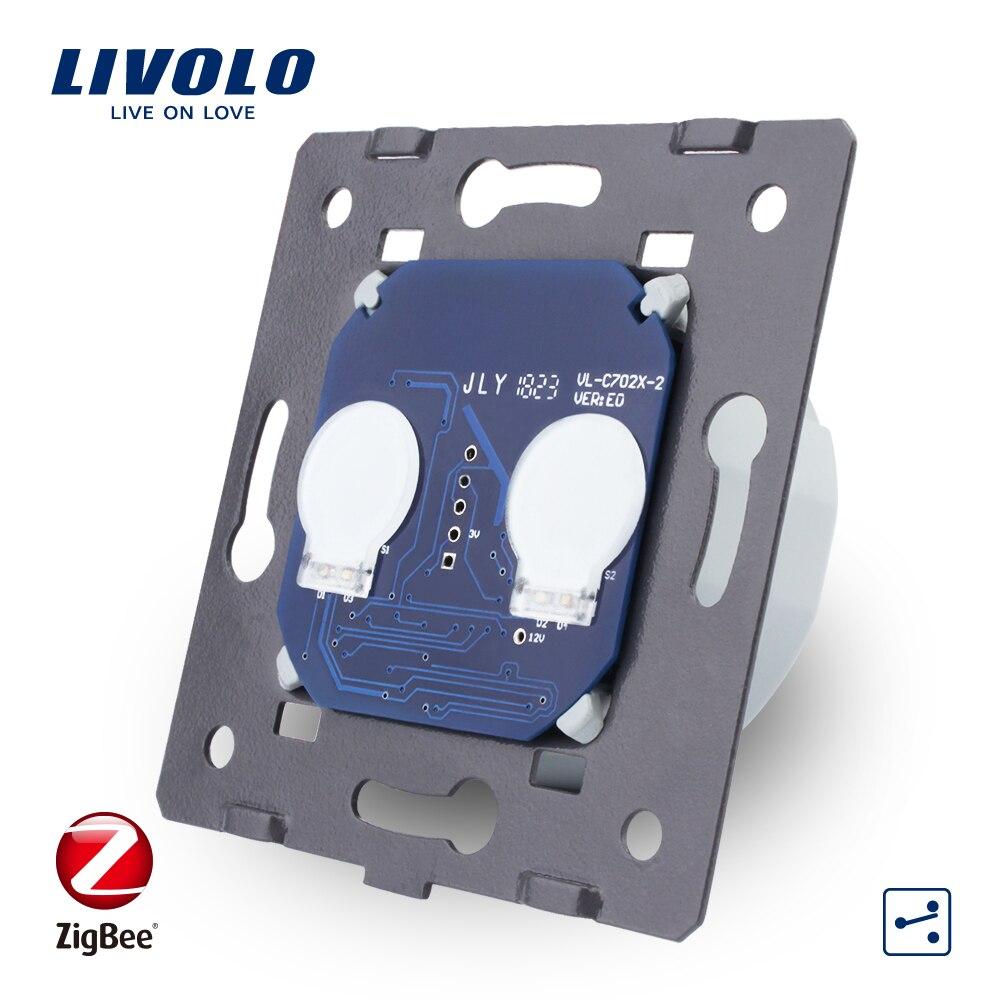 Norme Livolo EU, Base de commutateur tactile ZigBee, commutateur intelligent de contrôle app 2 voies 2 voies sans panneau de verre, AC 220 ~ 250 V, VL-C702SZ