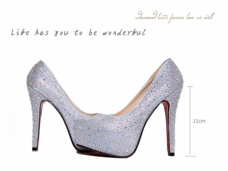 women pumps red round toe thin high heel bride wedding platform shoes lady silvery crystal rhinestone Sexy heel shoe big size 42 10