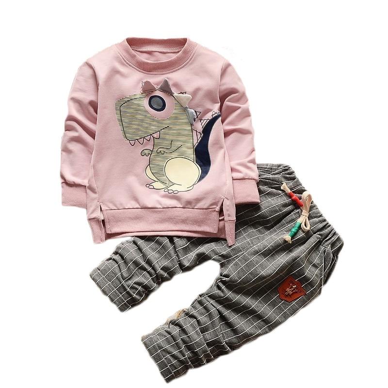 Kids cloth set spring autumn cartoon small dinosaurs boy girls casual long sleeves t-shirt+plaid pants cotton 2pcs/set