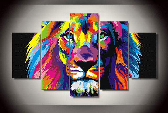 2017 5 piece unframed hd printed colorful lion painting on for Decoration murale one piece