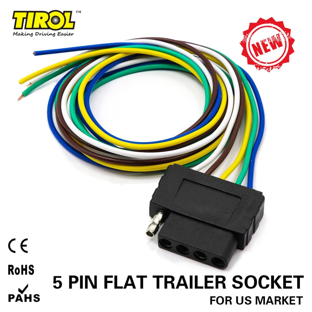 TIROL 5-Way Flat Trailer Wire Harness Extension Connector Socket with 36  inch Cable Length