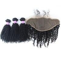 Афро кудрявый вьющиеся волосы человека Комплект s с кружевом фронтальной 13x6 бразильский человеческих волос 3 Комплект с кружева закрытия фр