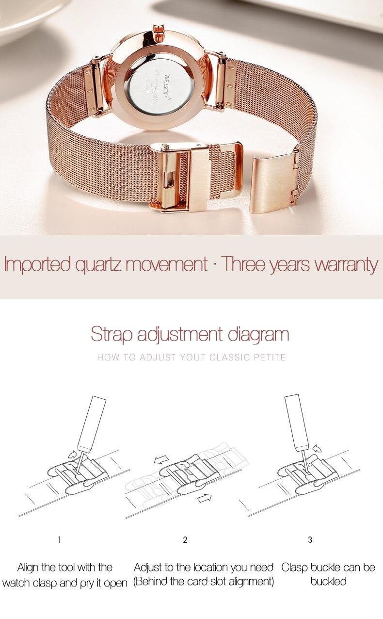Compre Relojes De Cuarzo Para Mujer Marca De Lujo AESOP Relojes Para ... e09f5377a702