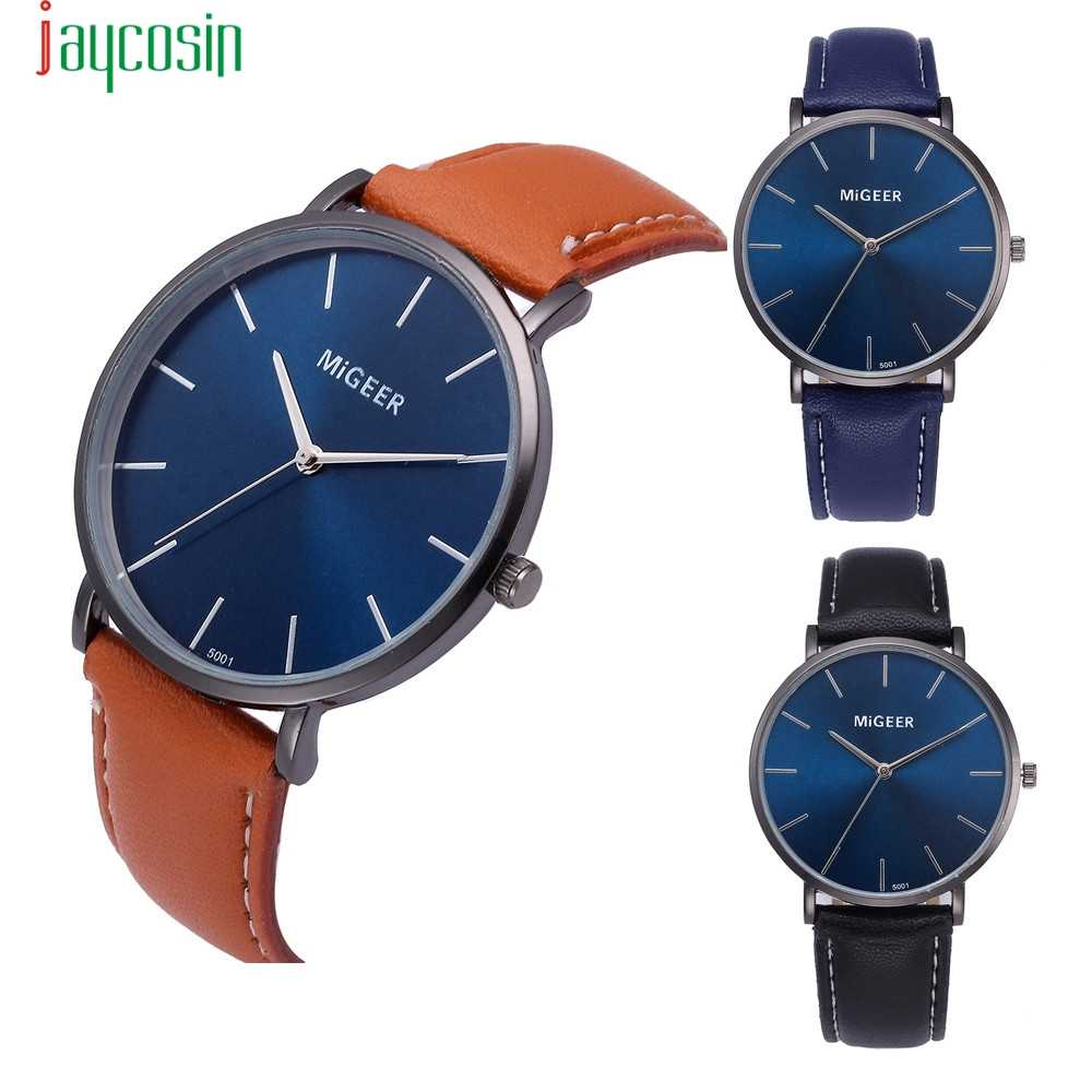 Jaycosin Kuarsa Biru Case Leather Band Watch Analog Kaca Stainless Steel Pria Watch Montre Homme Marque De Luxe SE0805