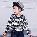 Pioneer niños 2016 primavera muchacho de la manera camisetas de manga larga niños causales patrón algodón agregar gruesa camisetas niños ropa topstees